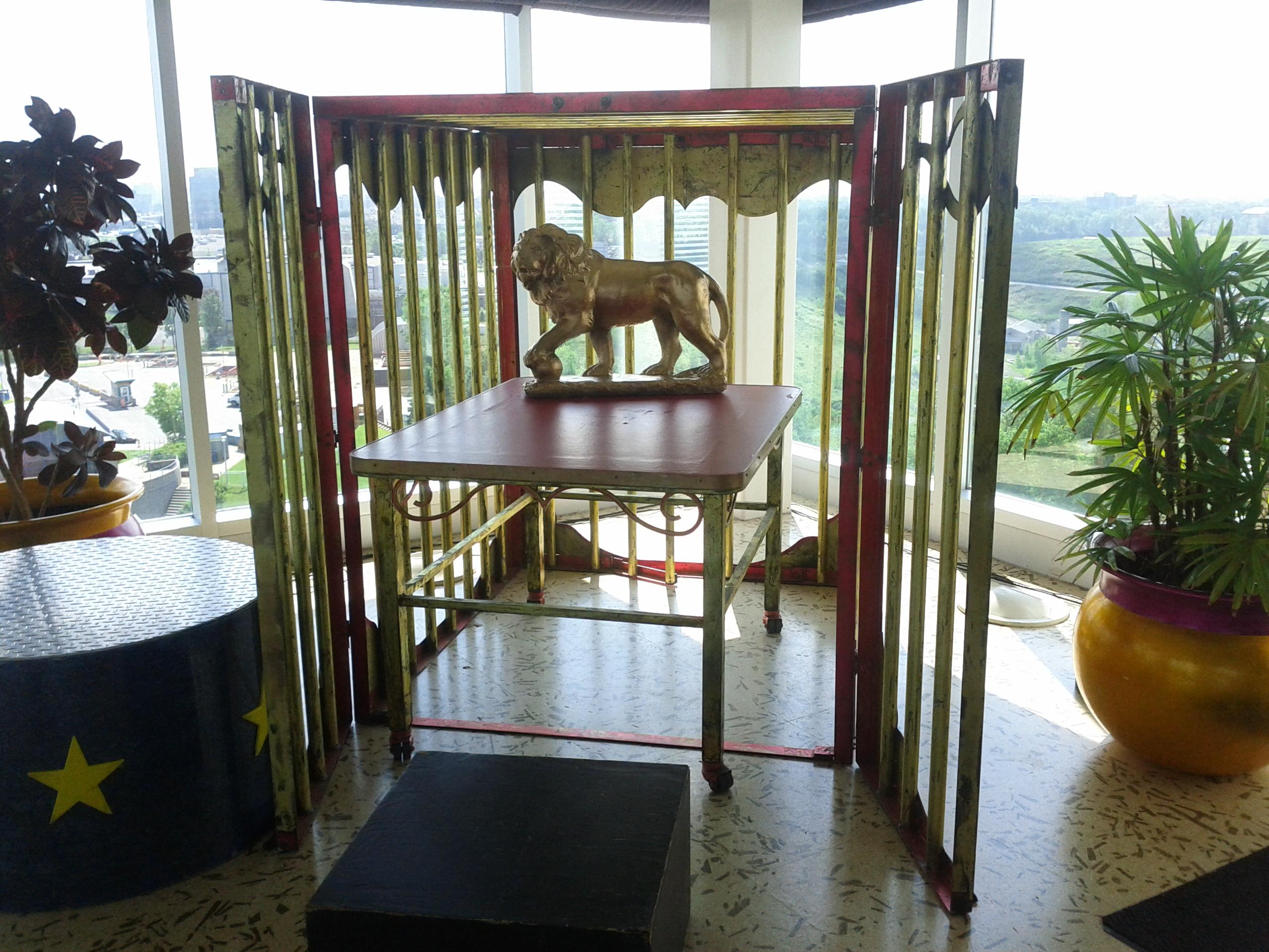 Cirque du Soleil headquarters top floor lion cage
