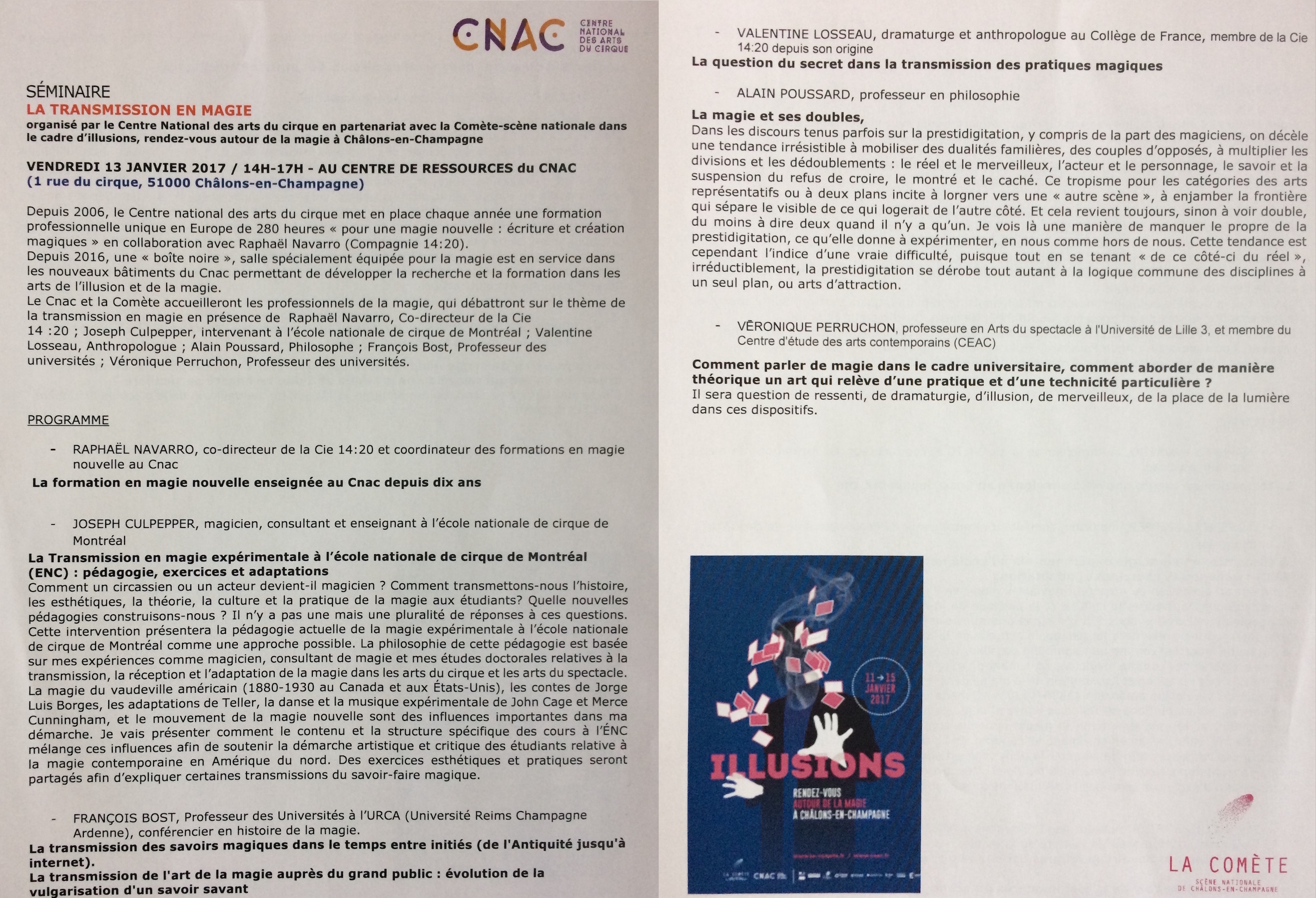 CNAC illusions séminaire 13 january 2017